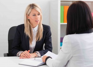 Young woman injob interview